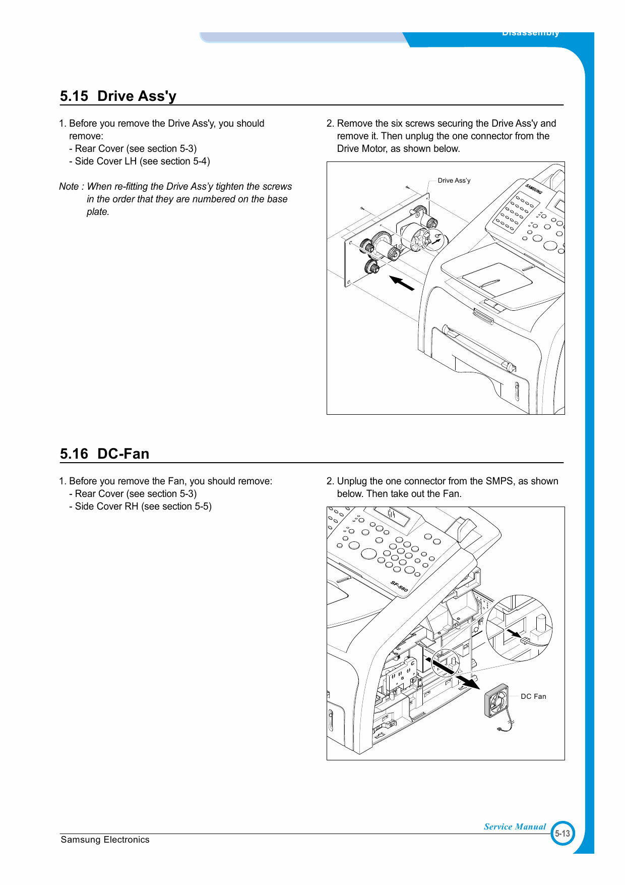 Samsung Digital-Laser-MFP SF-560 565P Parts and Service Manual